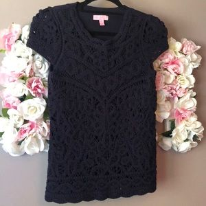 Lily Pulitzer Crochet Knitted Lace Front Top